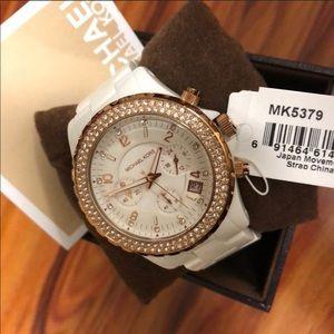 Michael Kors White Chronograph Resin Watch.